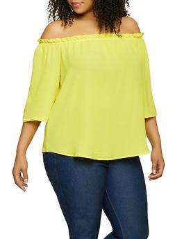 Plus Size Ruffles Crepe Knit Off the Shoulder - 1803058752268