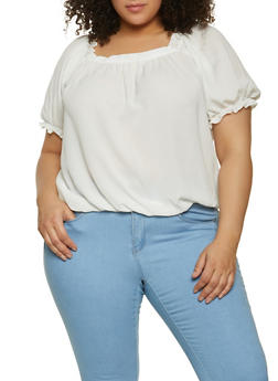 Plus Size Bubble Sleeve Crepe Knit Top - 1803058752814