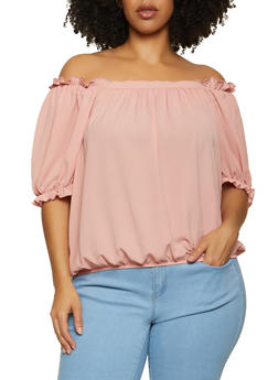 Plus Size Bubble Sleeve Crepe Knit Top - 1803058752814