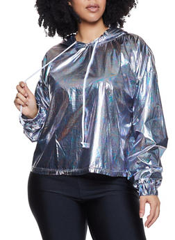 Plus Size Coated Oil Slick Hooded Top - 1803058752842