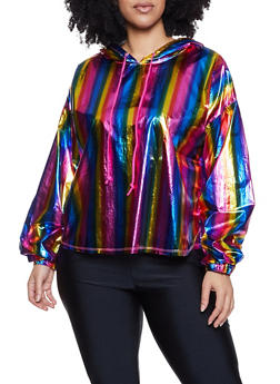 Plus Size Coated Rainbow Hooded Top - 1803058752843