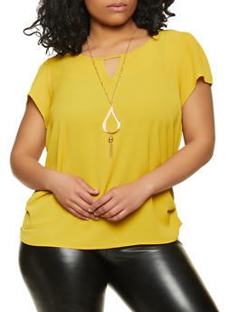 Plus Size Ruched Crepe Knit Top with Necklace - 1803058753104