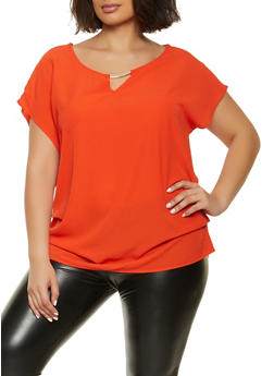Plus Size Metallic Keyhole Ruched Top - 1803058753214