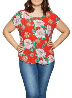 Plus Size Floral Crepe Knit Top - 1803058753215