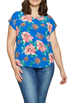 Plus Size Floral Crepe Knit Top - 1803058753215