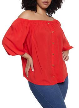 Plus Size Faux Button Off the Shoulder Top - 1803058753740