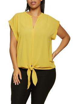 Plus Size Tie Front Crepe Knit Top - 1803058753864