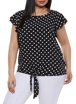Plus Size Polka Dot Crepe Knit Top - BLACK - 1803058754046