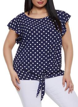 Plus Size Polka Dot Crepe Knit Top - 1803058754046