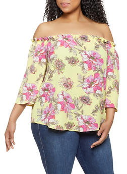 Plus Size Floral Off the Shoulder Top | 1803058754082 - 1803058754082