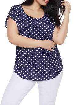 Plus Size Polka Dot Top - 1803058754088