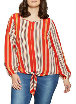 Plus Size Striped Tie Front Top - 1803058754834