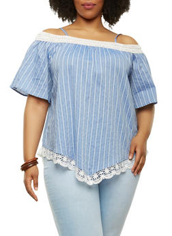 Plus Size Striped Off the Shoulder Top - 1803058757287
