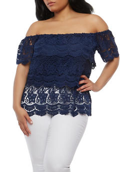 Plus Size Tiered Crochet Off the Shoulder Top - 1803058757620