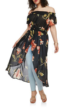Plus Size Floral Off the Shoulder Maxi Top - 1803061635206