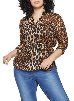 Plus Size Leopard High Low Top - 1803061635307