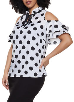 Plus Size Polka Dot Tiered Cold Shoulder Top - 1803061635515