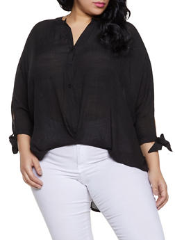 Plus Size High Low Tie Sleeve Shirt - 1803062120419