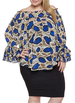 Plus Size Reptile Print Off the Shoulder Top - 1803062121070