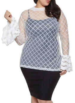 Plus Size Printed Mesh Bell Sleeve Top - 1803062121080
