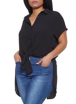 Plus Size Tie Front High Low Shirt - 1803062121099