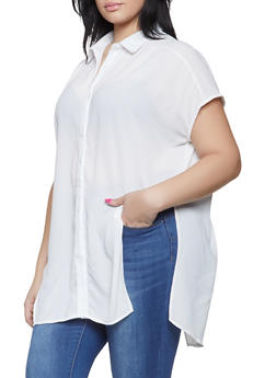 Plus Size Tie Front High Low Shirt - 1803062121099