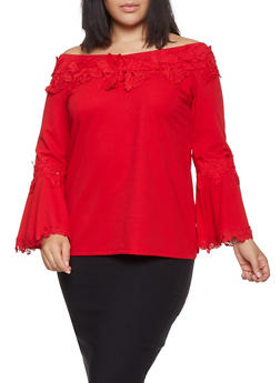 Plus Size Crochet Trim Off the Shoulder Top - 1803062121150