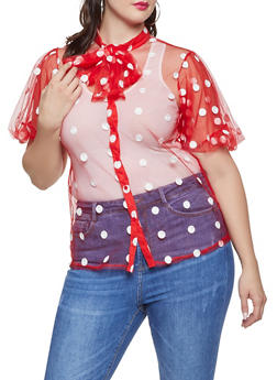 Plus Size Polka Dot Embroidered Tulle Shirt - RED - 1803062121152