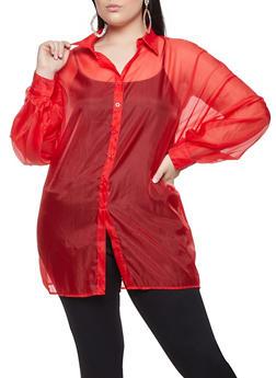 Plus Size Organza Shirt - 1803062121190