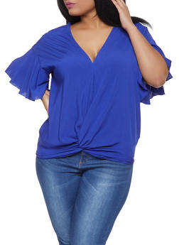 Plus Size Twist Front Top - 1803062121212