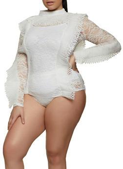 Plus Size Pleated Eyelet Bodysuit - 1803062121296