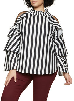 Plus Size Mesh Insert Striped Mock Neck Top - 1803062121511