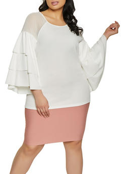 Plus Size Mesh Insert Tiered Sleeve Top - 1803062121800