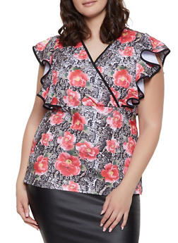 Plus Size Floral Snake Print Top - 1803062121827