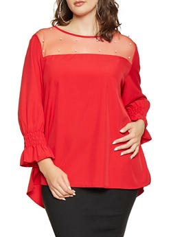 Plus Size Faux Pearl Mesh Yoke Top - 1803062121971
