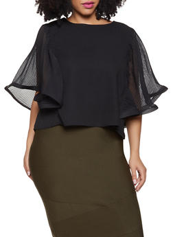 Plus Size Pleated Batwing Sleeve Top - 1803062122153
