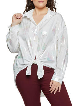 Plus Size Iridescent Detail Tie Front Shirt - 1803062122343