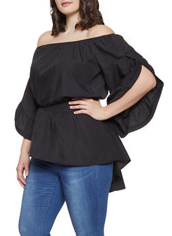 Plus Size Split Sleeve Off the Shoulder Top - 1803062122375