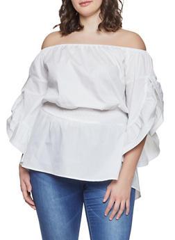 Plus Size Split Sleeve Off the Shoulder Top - 1803062122375