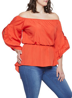 Orange 2X Off the Shoulder Tops
