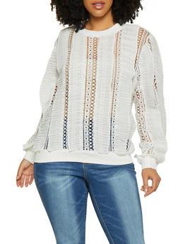 Plus Size Pleated Crochet Top - 1803062123067