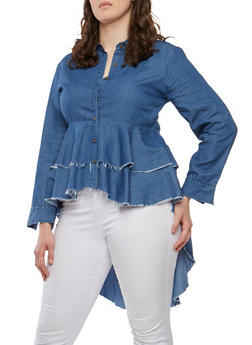 Plus Size Tiered High Low Denim Top - 1803062124008