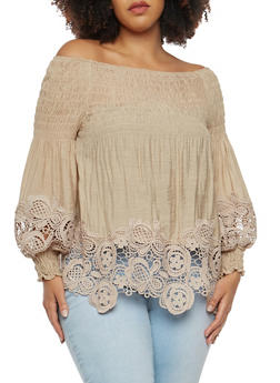 Plus Size Smocked Crochet Off the Shoulder Top - 1803062124009