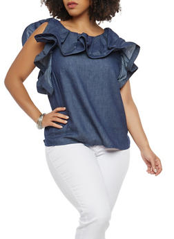 Plus Size Button Back Ruffle Top - 1803062124012