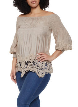 Plus Size Crochet Trim Bubble Sleeve Off the Shoulder Top - 1803062124019