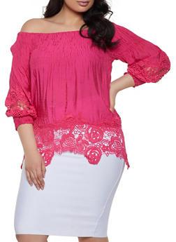 e9a3e182271b7 Plus Size Crochet Trim Bubble Sleeve Off the Shoulder Top - 1803062124019