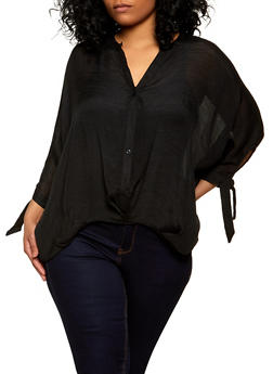 Plus Size Twist Front Tie Sleeve Shirt - 1803062124913
