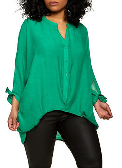 Plus Size Twist Front Tie Sleeve Shirt - 1803062124913