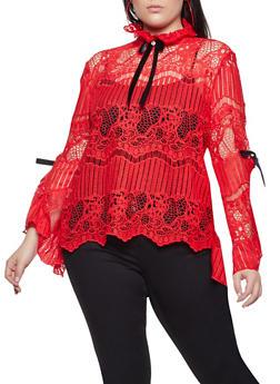 Plus Size Crochet Open Back Top - 1803062124941