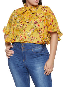 Plus Size Ruffle Floral Shirt - 1803062125059
